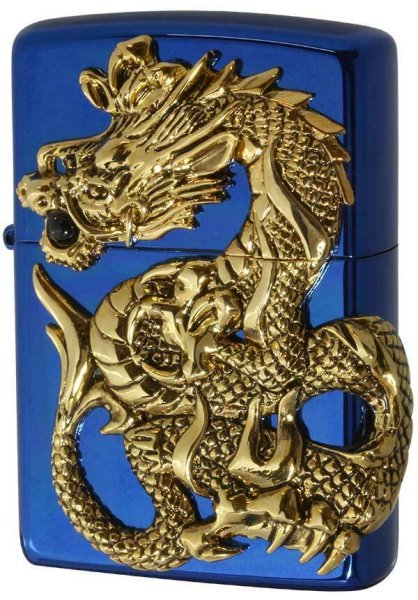 Photo1: Zippo Rampage Gold Dragon 2-sides Metal Onyx Blue Japan 1000 Limited Oil Lighter (1)