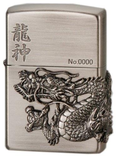 Zippo Dragon Ryujin 3 Sides Metal Antique Nickel Oil Lighter Japan Limited